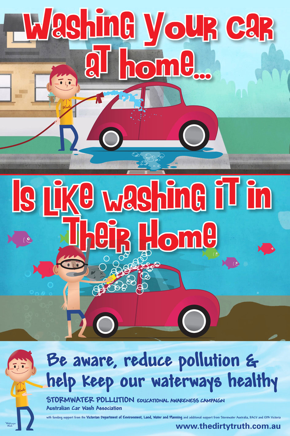 Washing your car promotional poster.