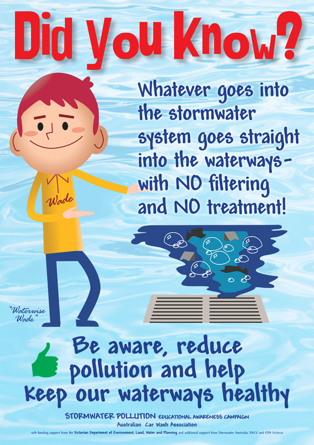 Be aware, reduce pollution promotional poster.